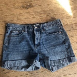 Madewell High Rise Medium Wash Cuffed Shorts sz 27